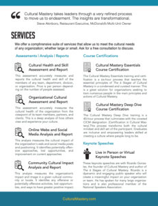 Cultural Mastery Services Brochure
