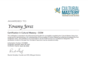 CICIM - Certification in Cultural Mastery - Yovany Jerez